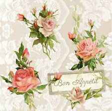 Serviette AMBIENTE - Roses on lace - (33 x 33 cm)