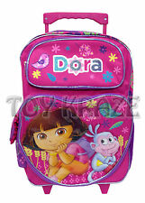 """DORA THE EXPLORER ROLLING BACKPACK! PINK HEART WHEAT BOOTS ROLLER BAG 16"""" NWT"""