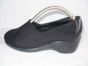 MUNRO WOMEN'S BLACK KNIT LEATHER LOAFERS SIZE 6.5 W 6537