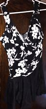 NWOT Miraclesuit $100 1 Pc Swim Bathing Suit  Black White Floral Ruched 16