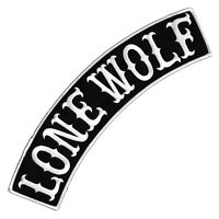 """VEGASBEE® LONE WOLF BLACK-WHITE EMBROIDERED IRON-ON PATCH JACKET TOP ROCKER 12"""""""