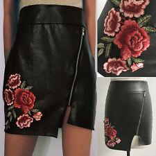 Womens Slim PU Leather Pencil Skirt Bodycon High Waist Mini Solid Straight Skirt