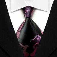 Classic Floral Men's Tie Black Pink JACQUARD WOVEN Silk Ties Suits Necktie S095