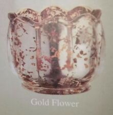 PAIR of Fitz and Floyd GOLD FLOWER Mercury Glass Votive Candle Holders - NIB