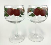 Set of 2 Vintage Franciscan Glasses Wine Water Apple Pattern Hand Decorated
