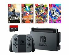 Nintendo Swtich 6 items Deluxe Game Bundle:Nintendo Switch 32GB Console Gray Jo