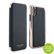 OFFICIAL Ted Baker SHANNON Mirror Folio Case for iPhone X / XS - Black/Rose Gold