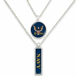U.S. Navy Double Charm Necklace with Round Logo and Navy Nameplate Charms