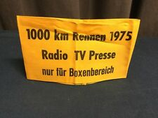 Rare Badge Brassard 1975 Radio TV Presse 1000 KM RENNEN  !!!