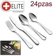 Set de cubiertos 24 Pzas cubertería en acero inoxidable tenedor cuchillo cuchara