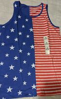 Cat & Jack Girls Red White Blue Patriotic holidays 4th of July Tank Top New