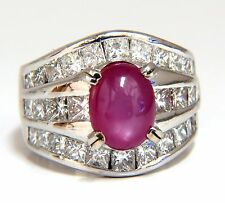 GIA 6.32ct Natural No Heat Star Ruby Diamond Ring Platinum Knuckle Buckle