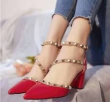 Pointed Studded Shoes (Red - Size 38)