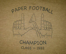 """PAPER FOOTBALL CHAMPION"" Men's Size LARGE, Gray UTILITY Tee ""CLASS of 1982"" NEW"
