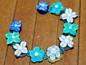 New 10 pc set Fine Murano Lampwork Glass Beads - Detailed Flowers - A4449c