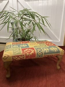 Hand Crafted Kilim Style Heavy Fabric Footstool/Ottoman - Queen Anne Wooden Legs