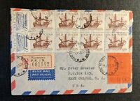 1965 Warsaw Poland Registered Airmail Cover to East Orange NJ USA