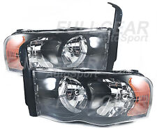 BLACK w/ CLEAR LENS HEADLIGHT PAIR SET FOR DODGE RAM PICK-UP 2002-2005