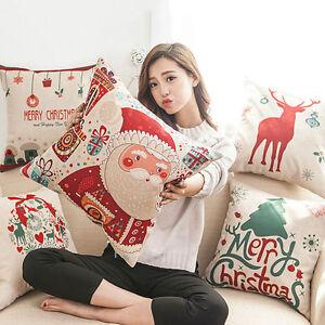 18''Christmas Xmas Linen Cushion Cover Throw Pillow Case Home Decor Festive Gift