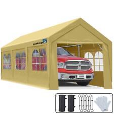 Peaktop Outdoor 10'x20' Carport Heavy Duty Car Shelter Garage Shed Storage Beige
