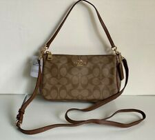 NEW COACH SIGNATURE TOP HANDLE POUCH CROSSBODY SLING BAG $195 KHAKI SADDLE BROWN
