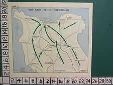 WW2 MAP ~ THE CAPTURE OF CHERBOURG 4th DIVISION VALOGNES