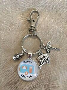 Caravan Cabochon Happy Camper Pale Blue Van Key Ring with Charms- New!