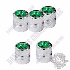 5 Chrome Billet Aluminum Swarovski® Green Diamond Wheel Valve Stem Dust Caps