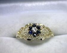 10K Yellow Gold Vintage Style Genuine Sapphire / Diamond Ring Size 5.75 Natural