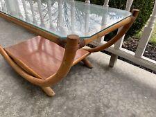 "Unique Vintage Rattan Bamboo Glass Top Coffee Table Art Deco Curve 36"""