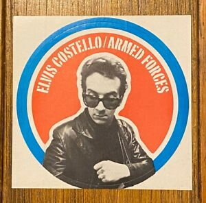 ELVIS COSTELLO & The ATTRACTIONS Armed Forces 1979 US PROMO Only STICKER Minty