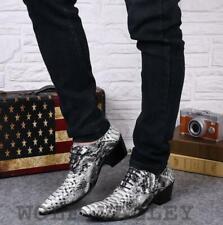 Mens Pointy Toe Snakeskin Highten Nightclub  Low Top Dress Formal Leather Shoes