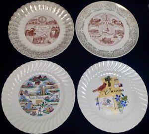 """lot 4 vintage US Travel Destination Souvenir Plates VA NY ND IL large 10"""""""