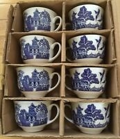 8 Blue Willow Flat Cups by Cuthbertson 2 & 1/2 inches tall New in Box