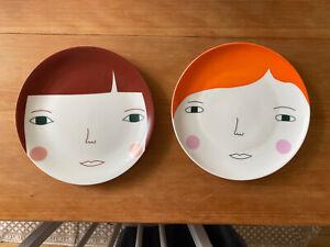 2 x Donna Wilson Fine Bone China Women Plates, Hand Decorated