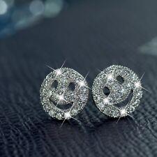 18k white gold gp made with SWAROVSKI crystal smiley face emoji stud earrings