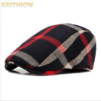 Plaid Men Women Duckbill Ivy Cap Golf Driving Sun Flat Cabbie Newsboy Beret Hat