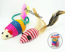 Lot of 36 Wholesale Pet Cat Toy Sisal Feather Mice Mouse Toy