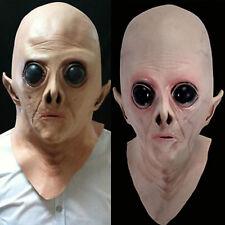 Scary Realistic UFO Alien Mask Full Head Disguise Halloween Deluxe Fancy Party