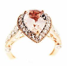 Morganite 3.95 Ct.Pear Shaped  & White Zircon, Rose Vermeil Ring Size 6,