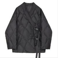 Women's Winter Fashion Quilted Buckle Strap Japan Style Kimono Jacket Coat SKGB