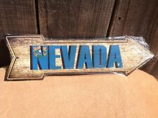 """Nevada State Flag This Way To Arrow Sign Directional Novelty Metal 17"""" x 5"""""""
