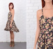 Vintage 90s Floral Leaf Print Grunge Mini Sweetheart Dress Navy Blue Small S