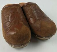 Lucky Brand Womens 7.5 Brown Studded Suede Leather Wooden Peace Clogs Mules 37.5