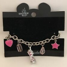 Walt Disney Worlds Girls Charm Bracelet Pink Star Heart Charms
