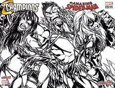 AMAZING SPIDERMAN 19 CHAMPIONS 1 VENOM BLACK CAT MJ NYCC SKETCH VARIANT SET