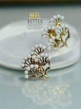 Mini Pearl Pine Tree Crown J1 Costume Fashion Clip on Earrings Gold Class