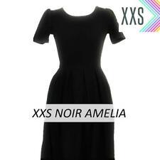 LuLaRoe Amelia Dress Size XXS Black Solid Noir Pockets Zipper Ladies Women