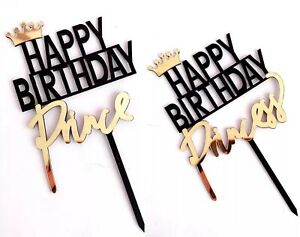 Prince and Princess Happy Birthday Cake Topper Acrylic Black Cake Decoration