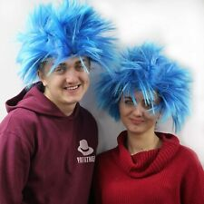 2 X BLUE SPIKEY WORLD BOOK DAY THING 1 WIG FANCY DRESS COSTUME UNISEX AFRO UK